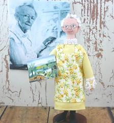 Grandma Moses Miniature Art Doll (uneekdolldesigns) Tags: grandma wooden artist folkart dolls artistic unique painted famous country elderly artists painter oldlady granny clothespindoll woodendolls ruralartist