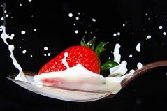 Milk Fraise (Les Vols de Max) Tags: lait fraise highspeed cuillre