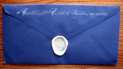 Wax seal with white-ink return address