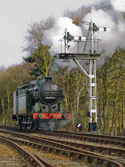 Waiting for the Signal (Gerry Balding) Tags: england track smoke norfolk engine steam signals points holt gnr n2 northnorfolkrailway 1744 nnr semaphores uksteam thepoppyline mgnr