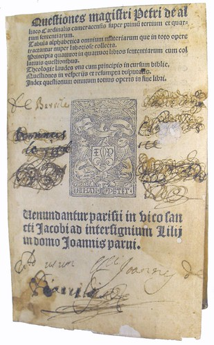 Title Page of 'Quaestiones Super Libros Sententiarum Petri Lombardi'