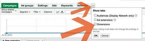 AdWords Dimensions Tab