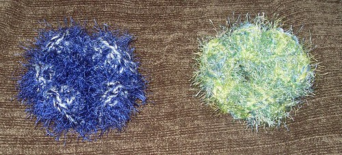 fuzzy blue and green hairties