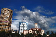 Dhaka City (Tipu Kibria~~BUSY~~) Tags: city blue trees sky building green clouds canon skyscape eos cityscape colours dhaka bangladesh canonefs1785mmisusm xti motijheel 400d