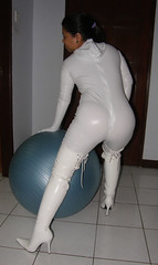 Exercise Suit (johnerly03) Tags: white fashion asian boots coat philippines thigh filipina length pvc zentai erly