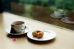 tea and donut (khaniv13) Tags: film analog relax time tea donut nikonfe 50mmf18seriese dnpcenturia200 khaniv13