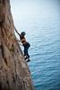 Jennifer Chang - Tsarouhis 6A (Amicus Telemarkorum) Tags: blue sea water sport rock photography climber yeti rockclimbing 6a advanced kalymnos jenniferchang climbergirl tsarouhis kasteli jeffreyrueppelphotography