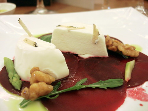 "Carpaccio of Beetroot with Goats"" Curd Panne Cotta, Asparagus and a Truffled Walnut and Honey Dressing-1"