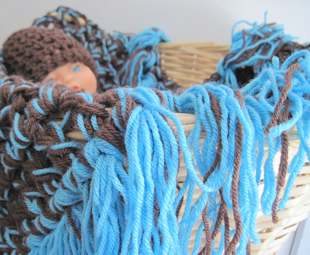 Blue and Brown Crocheted Baby Blanket- Chunky with Thick Fringe, Perfect Photo Prop