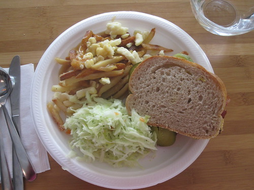 Smoked meat sandwich, poutine, cole slaw from the bistro - $6