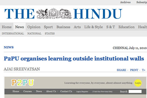 Screenshot of P2PU Headline in The Hindu