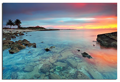 Dusk (Nora Carol) Tags: ocean red seascape coral clouds landscape rocks dusk sabah sigma1020mm amazingsunset sutera nikond90 noracarol cokingndfilter kotakinabalusunset sabahanphotographer womaninphotography ps121s ps121l