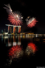 Fireworks Season (J.^2) Tags: sky reflection water skyscraper river garden ir cards singapore fireworks rehearsal casino ndp mbs marinabay nationaldayparade integratedresort marinabaysands