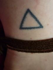 fresh stick-and-poke (ilostmyraygun) Tags: geometric tattoo diy triangle poke stick ankle bodyart bodymodification ankletattoo stickandpoke