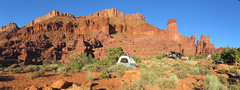 Campsite pano (rovingmagpie) Tags: camping utah moab redrock campsite blm fishertowers professorvalley ceot2010 ceotcampsite