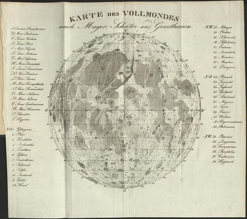 Karte des Vollmondes nach Mayer, Schroter und Guithuisen - Popular Astronomy by ML Frankheim, 1829, Braunschweig (SLUB)