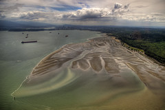 Spanish Banks (ecstaticist) Tags: ocean city urban canada green english vancouver georgia bay high sand raw dynamic pacific pentax bank columbia aerial helicopter spanish british range hdr strait helijet kx photomatix