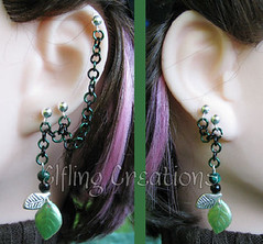 Pair of cartilage chain earrings-  Leaves of the Woodland