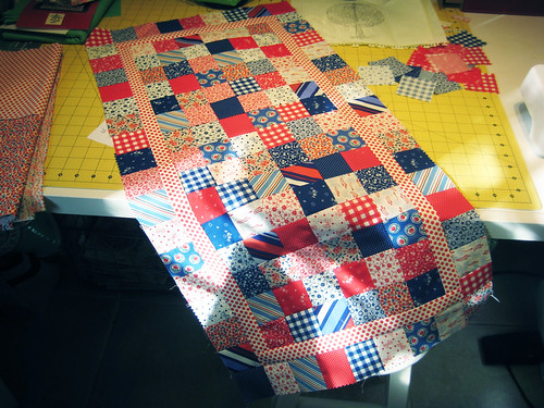 4th of July table runner - top pieced, needs to be backed and quilted