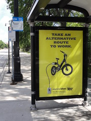 Best Buy now sells electric bikes (Steven Vance) Tags: chicago bus bike yellow electric bicycling cta bicicleta billboard advertisement transit bikelane uic shelter bestbuy halsted vlo chicagotransitauthority jcdecaux a2b ultramotor