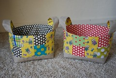 Fabric basket (coco stitch) Tags: black yellow cat vintage kei greenred fabricbasket