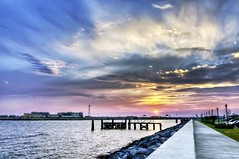 Sunset over Hampton Roads (Sky Noir) Tags: old bridge sunset sea summer usa cloud sun nature horizontal point outdoors photography virginia pier fort dusk jetty horizon tunnel nopeople monroe hampton comfort majestic hdr scenics tranquilscene hamptonroads tidewater traveldestinations skynoir bybilldickinsonskynoircom
