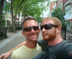 working the hick ped-mall (redjoe) Tags: trees hot men love me sunglasses rural self him virginia ginger us afternoon walk smiles boyfriends tourists redhead together va winchester saltandpepper silverfox gingerbeard pedmall redjoe joehorvath
