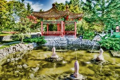 Pond in Chinese Buddhist Temple Garden HDR