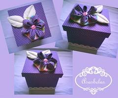 caixa quadrada com flor roxa (Andreza Muniz) Tags: original cute art arte box handmade pano craft caixa tecido flordeorigami