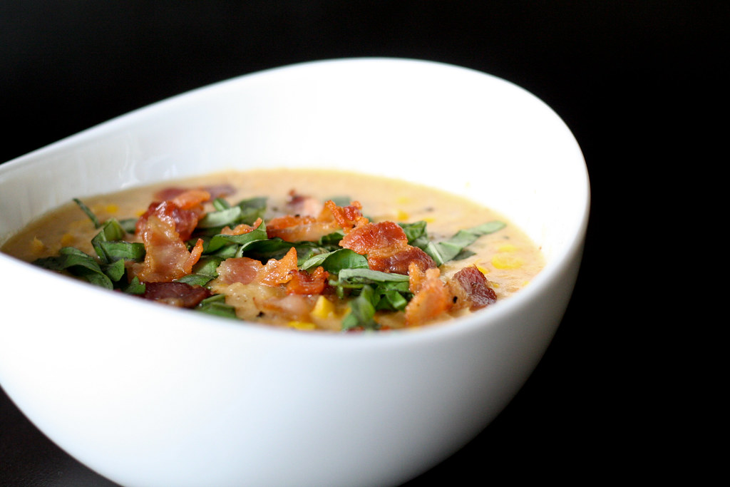 Corn Chowder with Bacon and Basil