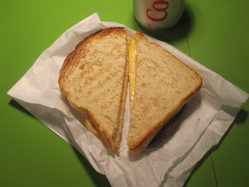 Cheese sandwich, soda - $3.75