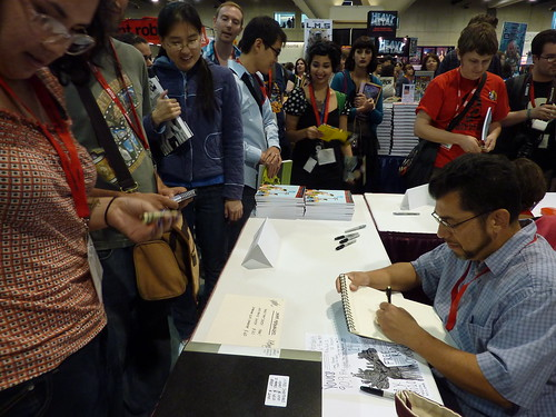 Jaime Hernandez & fans at Fantagraphics, Comic-Con 2010