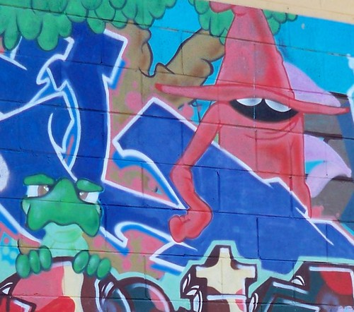 Red wizard guy & pissed-off green creature graffitti Alma Avenue Woy Woy