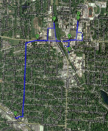 Walking Map, Raytown, Missouri, Thu 22 July 2010
