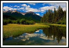 Vermilion Lake (stevenbulman44) Tags: summer sky cloud lake tree green reflections bluesky banff reflexions vermilion vermilionlake