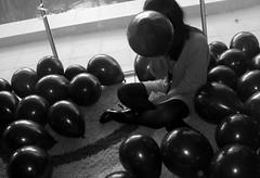 Black Balloon (lauraparviainen) Tags: blackandwhite black girl balloons pretty balloon hide teenager beatutiful