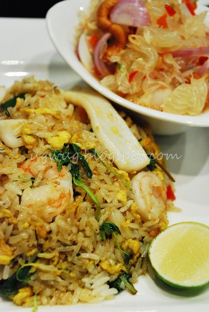 Thai Herb Fried Rice with Seafood & Pomelo Salad