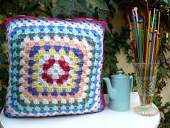 Grandma's garden cushion (Loving The Vintage) Tags: cherry handmade buttons needles crocheted cushion coffeepot theroyalsisters lovingthevintage grandmasgardencushion