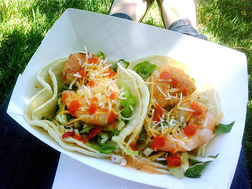 Shrimp tacos from Calbi truck