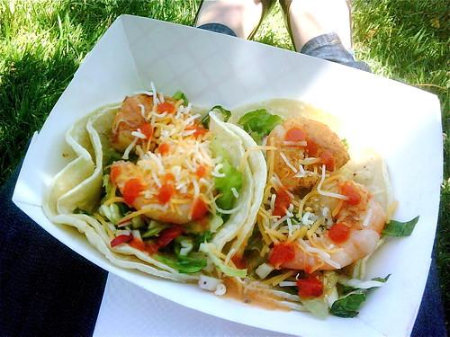 Shrimp tacos from Calbi truck
