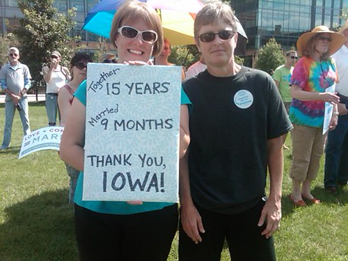 A marriage same-sex couple turning out at the One Iowa rally in Des Moines