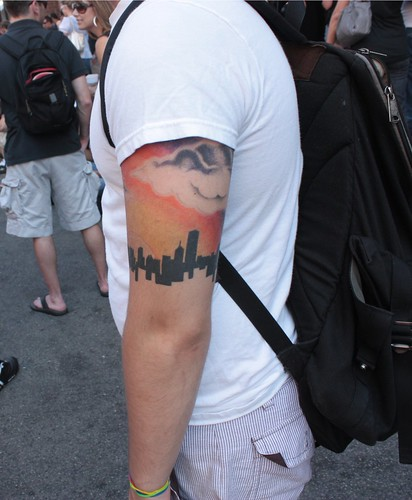 his Chicago Skyline tattoo