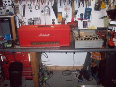 On the bench right now .1968 marshall plexi superbass in red (blackjetts) Tags: red marshall plexi plexy superbass superlead