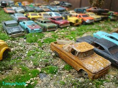 scrap yard (tonywheels) Tags: cars car miniature chevy hotwheels 164 casse wrecked rustycars rouille diecast paves
