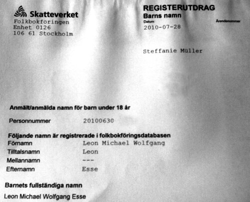 Offical document with Leon's name