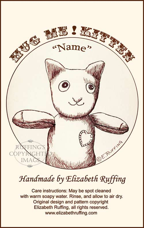 Hug Me! Sock Kitten hang tag by Elizabeth Ruffing