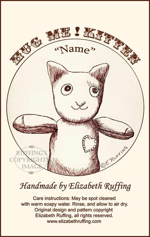 Hug Me! Sock Kitten hang tag by Elizabeth Ruffing