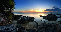 Sunset at Ujung Gelam, Karimun Jawa, Central Java (syukaery) Tags: sunset sea seascape tourism beach indonesia landscape nikon rocks day tokina shore karimunjawa d90 centraljava jepara 1116mm ujunggelam pwpartlycloudy