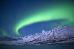 Aurora Borealis, Norway (antonyspencer) Tags: winter mountain lake snow norway zeiss landscape lights frozen 28mm aurora fjord spencer northern antony borealis tromso troms 5dmkii