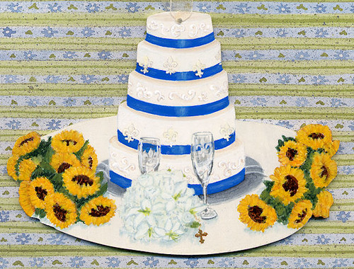 Custom Wedding Cake & Sunflowers Ornament